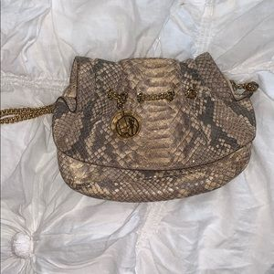 Vintage Henri Bendel Taupe snakeskin clutch